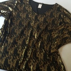 Brittany Black Gold & Black Flare Sleeve Top 1 X